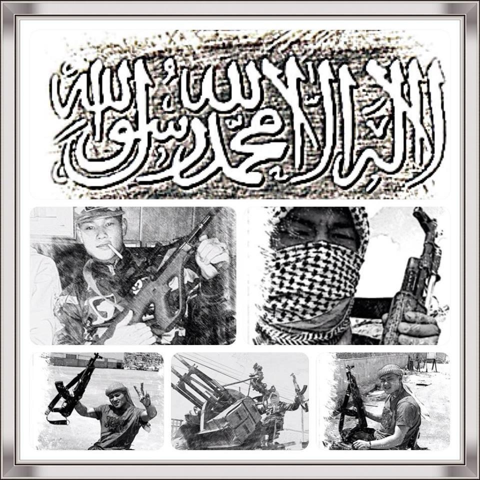 Michael Chau har selv sammensat denne jihad-planche, der formentlig ville give et 12-tal ved fremlæggelse på en af Nørrebros Koran-skoler.
