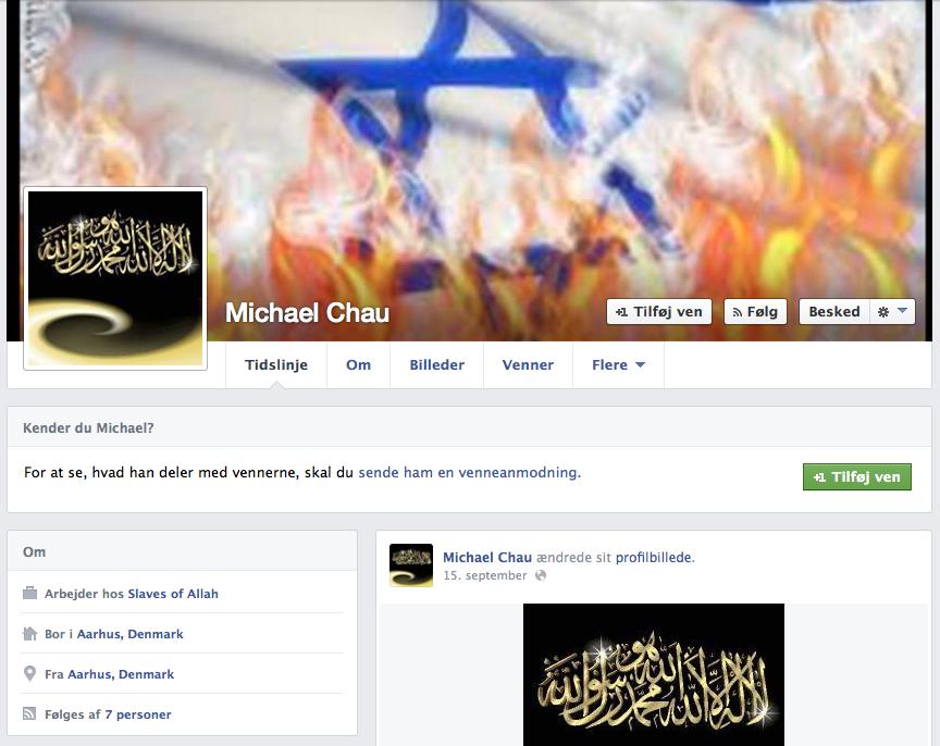 Michal Chau havde tidligere Israels flag i brand på Facebook - med den ene hånd vil han knuse Israel, med den anden kæmper han deres krig.