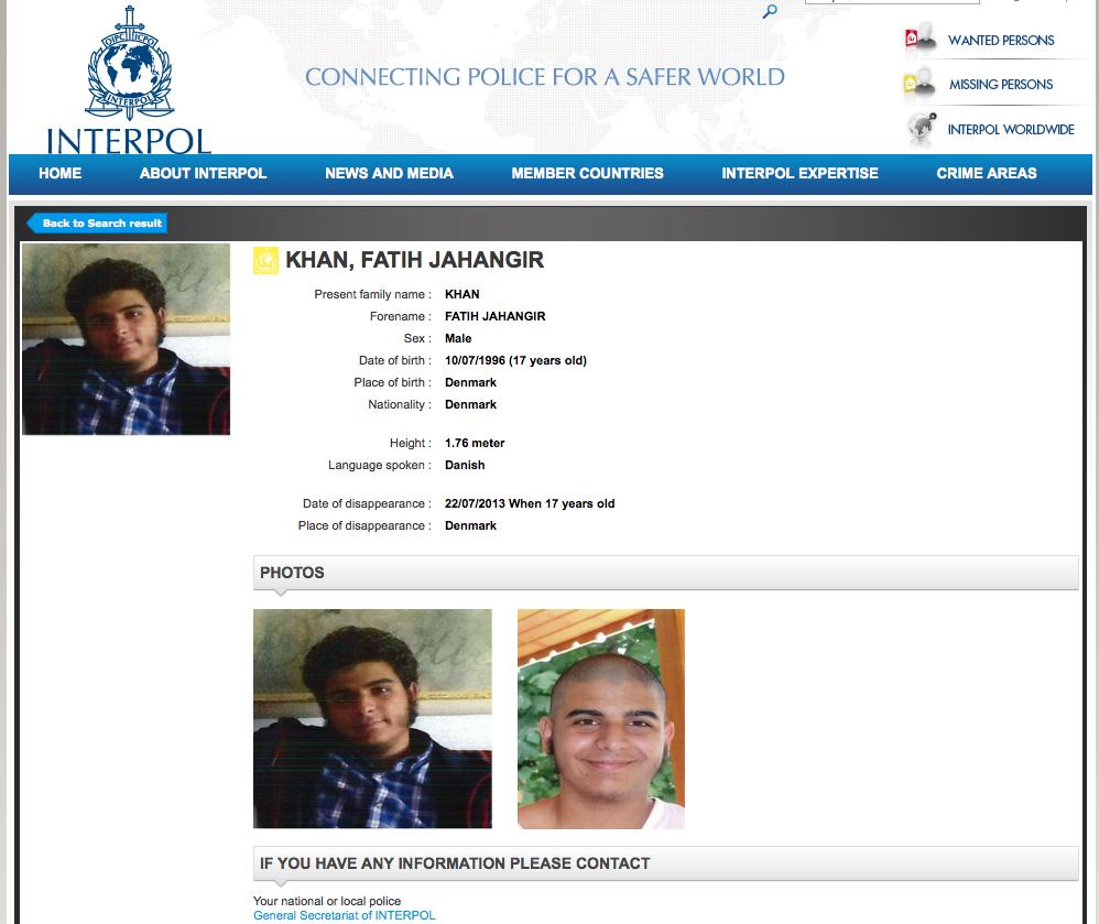 Fatih Khans efterlysning hos Interpol.
