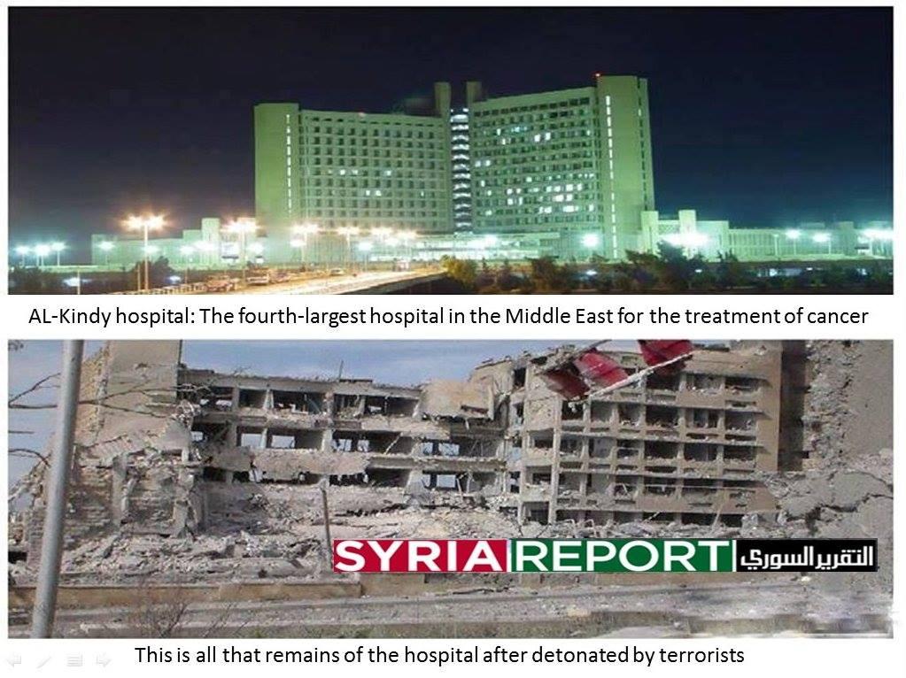 """Al-Kindi Hospitalet i Aleppo var mellemøstens 4. største, indtil den såkaldte """"frie syriske hær"""" kom på besøg."""