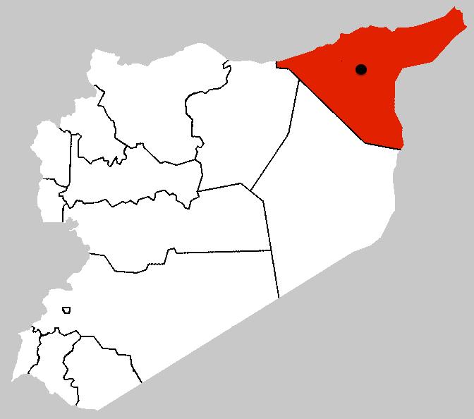 Syriens sydøstlige Al-Hasakah provins med Tel Hamees markeret med sort prik.