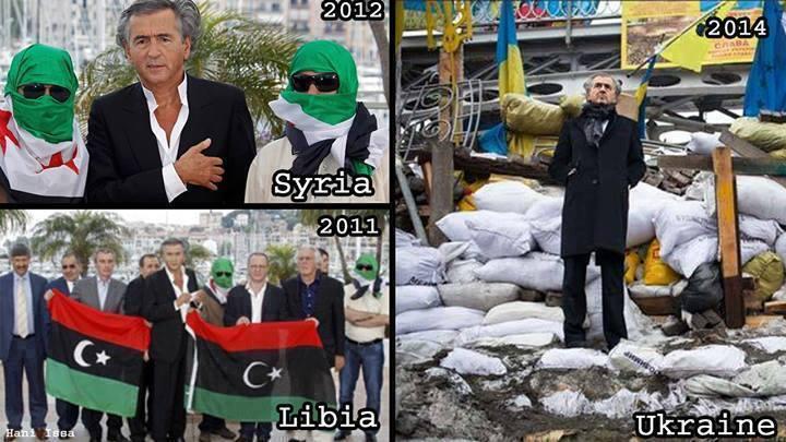 Den franske jøde og zionist Bernard-Henri Lévy overvåger de zionistiske 'revolutioner' i henholdsvis Libyen (n.tv.), Syrien (ø.tv.) og Ukraine (th.).