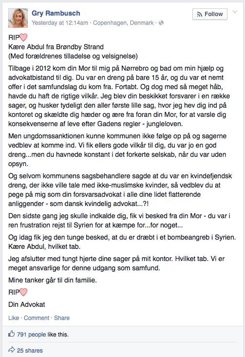 Advokat Gry Rambusch (Facebook; 6/7-15).
