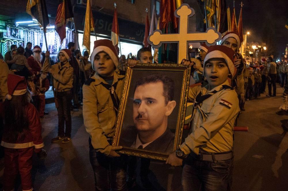 Kristne fejrer jul i Damaskus.