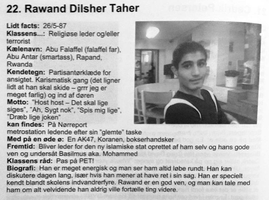 Rawand Dilsher Tahers omtale i Blå Bog fra Frederiksberg Gymnasium, 2006.
